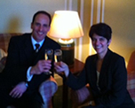 A champagne toast with Major and Mrs Le Feuvre at the Cavalry and Guards Club