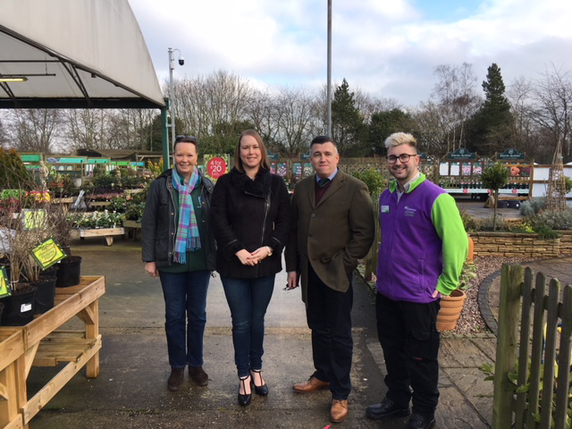 Anna Baker Cresswell (left) with Sophie, Keith and Tim at Leciester Rowen Wyevale Garden Centre